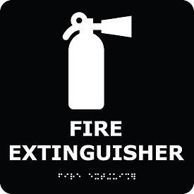 Graphic Braille Sign - Fire Extinguisher - Black