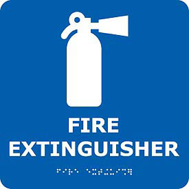 Graphic Braille Sign - Fire Extinguisher - Blue