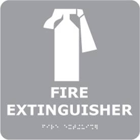 Graphic Braille Sign - Fire Extinguisher - Gray