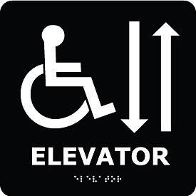 Graphic Braille Sign - Elevator - Black