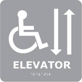 Graphic Braille Sign - Elevator - Gray