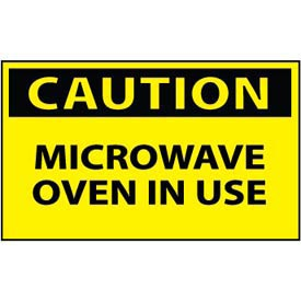 Machine Labels Caution Microwave Oven In Use by