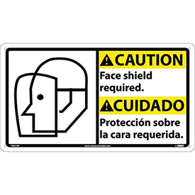 Bilingual Plastic Sign - Caution Face Shield Required