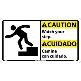 Bilingual Plastic Sign - Caution Watch Your Step