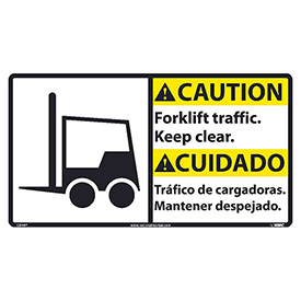 Bilingual Vinyl Sign - Caution Forklift Traffic Keep Clear