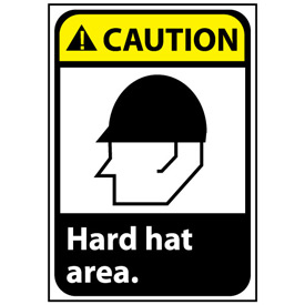 Caution Sign 14x10 Rigid Plastic - Hard Hat Area
