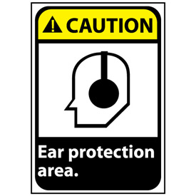 Caution Sign 14x10 Vinyl - Ear Protection Area