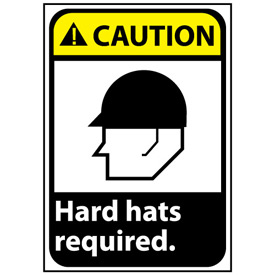 Caution Sign 14x10 Aluminum - Hard Hat Required