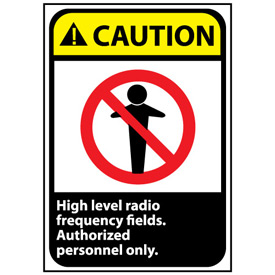 Caution Sign 14x10 Rigid Plastic - High Level Radio Frequency