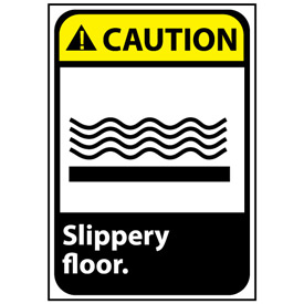 Caution Sign 14x10 Rigid Plastic - Slippery Floor
