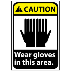 Caution Sign 14x10 Vinyl - Wear Gloves In This Area