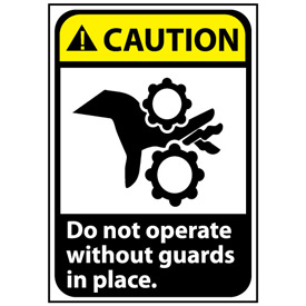 Caution Sign 14x10 Vinyl - Do Not Operate WithOut Guards