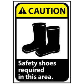 Caution Sign 14x10 Rigid Plastic - Safety Shoes Required