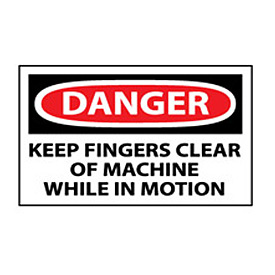 Machine Labels - Danger Keep Fingers Clear Of Machine