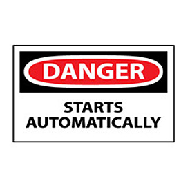 Machine Labels - Danger Starts Automatically