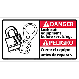 Bilingual Vinyl Sign - Danger Lock Out Equipment Before Servicing