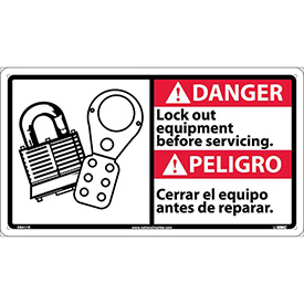 Bilingual Plastic Sign - Danger Lock Out Equipment Before Servicing