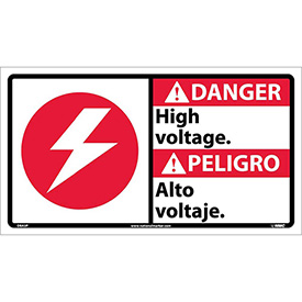 Bilingual Vinyl Sign - Danger High Voltage