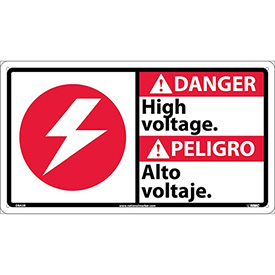 Bilingual Plastic Sign - Danger High Voltage