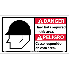 Bilingual Vinyl Sign - Danger Hard Hats Required In This Area
