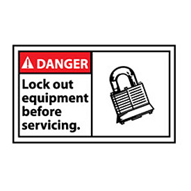 Graphic Machine Labels - Danger Lock Out Equipment Before Servicing