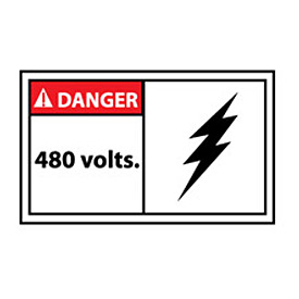 Graphic Machine Labels - Danger 480 Volts