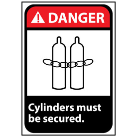 Danger Sign 14x10 Vinyl - Cylinders Must Be Secured