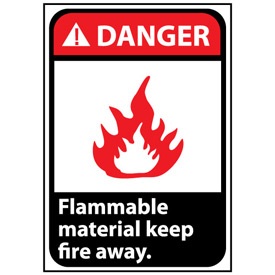 Danger Sign 14x10 Rigid Plastic - Flammable Material Keep Fire Away
