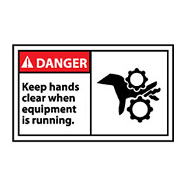 Graphic Machine Labels - Danger Keep Hands Clear When Equipment Is Running