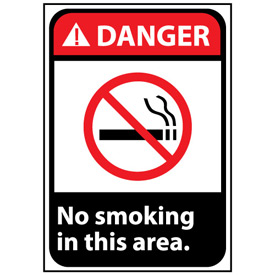 Danger Sign 14x10 Vinyl - No Smoking In This Area