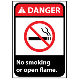 Danger Sign 14x10 Rigid Plastic - No Smoking Or Open Flame
