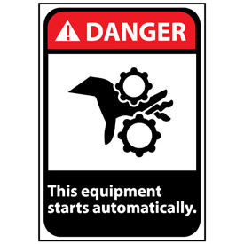 Danger Sign 14x10 Vinyl - Equipment Starts Automatically