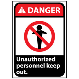 Danger Sign 14x10 Rigid Plastic - Unauthorized Personnel Keep Out