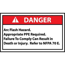 Graphic Machine Labels - Danger Arc Flash Hazard Appropriate PPE Required