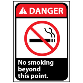 Danger Sign 10x7 Rigid Plastic - No Smoking Beyond This Point