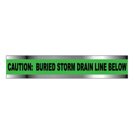 "Detectable Underground Warning Tape - Caution Buried Storm Drain Below - 2""W"