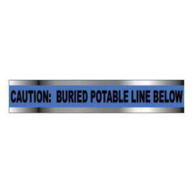 "Detectable Underground Warning Tape - Caution Buried Potable Line Below - 6""W"