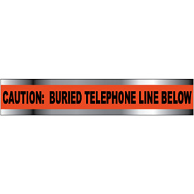 "Detectable Underground Warning Tape - Caution Buried Telephone Line Below - 6""W"