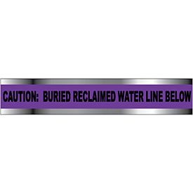 """Detectable Underground Warning Tape - Caution Buried Reclaimed Water Line - 6""""W"""
