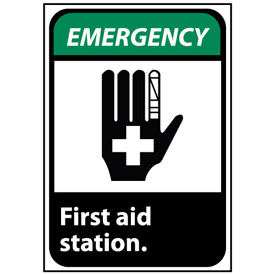 Emergency Sign 10x7 Rigid Plastic - First Aid Station