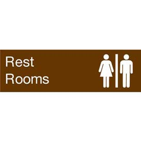 Engraved Sign - Rest Rooms - Brown