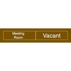 Engraved Occupancy Sign - Meeting Room In Use Vacant - Blue
