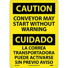 Bilingual Plastic Sign - Caution Conveyor May Start Without Warning