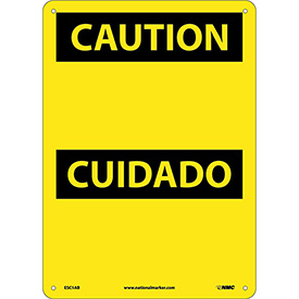 Bilingual Aluminum Sign - Caution Blank