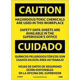 Bilingual Vinyl Sign - Caution Hazardous/Toxic Chemicals Are Used In Workplace