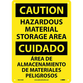 Bilingual Aluminum Sign - Caution Hazardous Material Storage Area