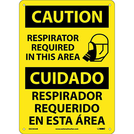 Bilingual Aluminum Sign - Caution Respirator Required In This Area