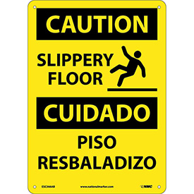Bilingual Aluminum Sign - Caution Slippery Floor