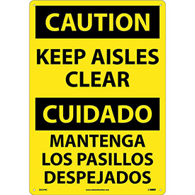 Bilingual Plastic Sign - Caution Keep Aisles Clear