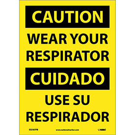 Bilingual Vinyl Sign - Caution Wear Your Respirator